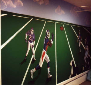 Hand Painted Mural Football players