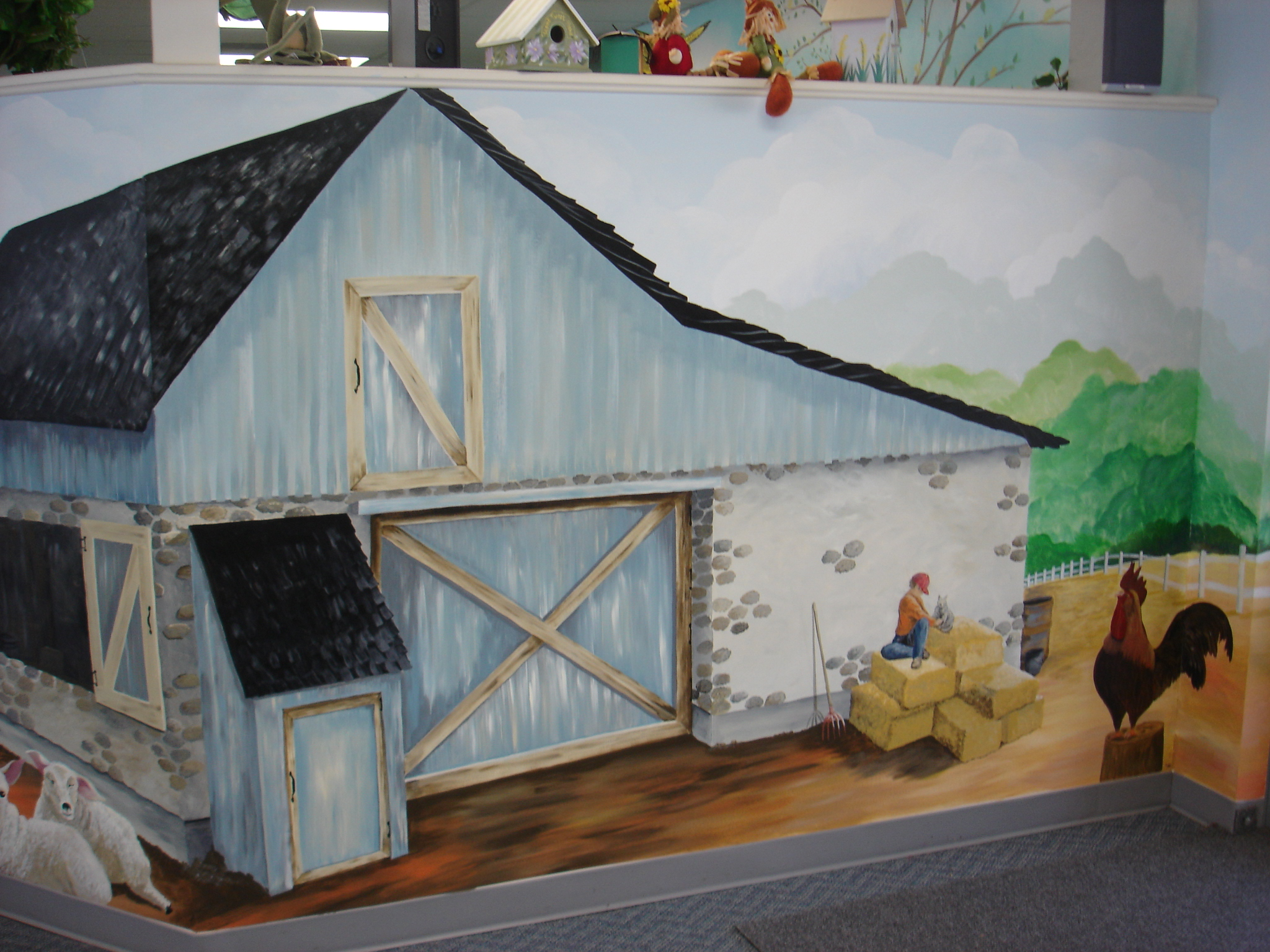 Hand Painted Barn Landscape