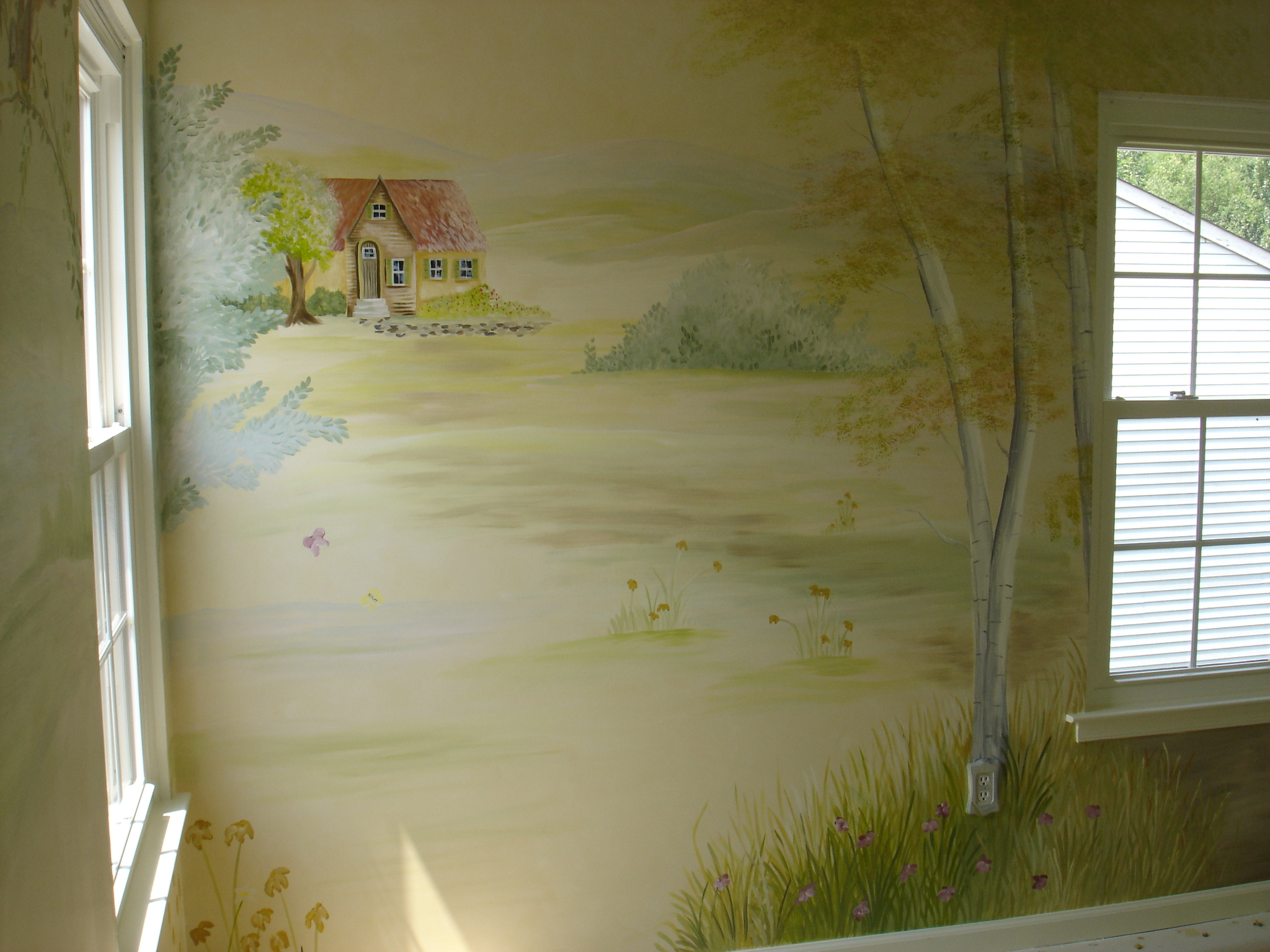 Custom Mural Landscape with Cottage