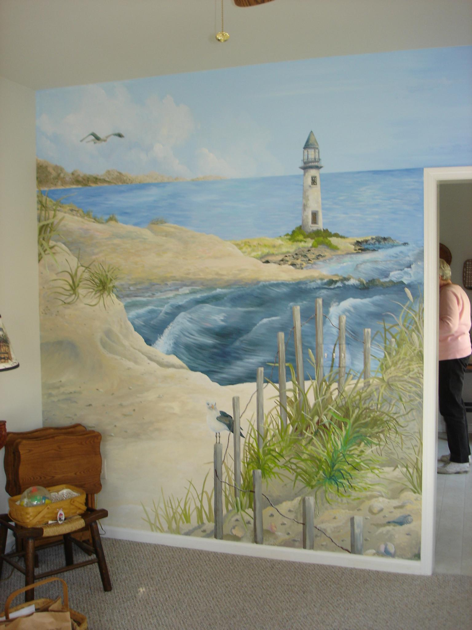 Custom Painted Mural Lighthouse