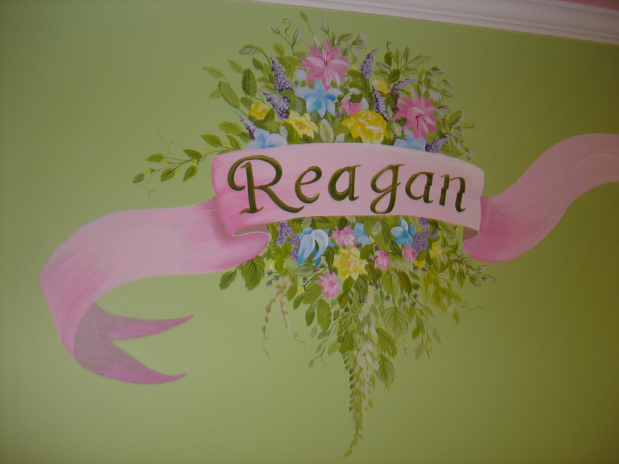 Custom Hand Painted Flowers Childs Name